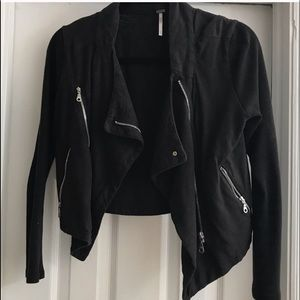 Free People black cotton Moto jacket
